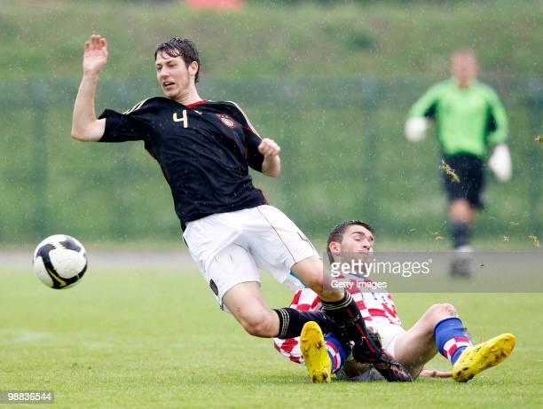 Danijel Hofstetter of Germany fights for the ball during the U18 international friendly match between Croatia and Germany at the Radnik Stadium on...