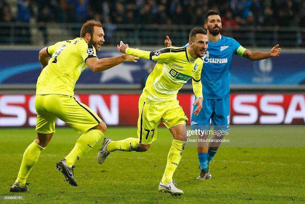 Danijel Milicevic of Gent celebrates scoring his teams second goal of the game during the group H UEFA Champions League match between KAA Gent and Football Club Zenit Saint Petersburg held at Ghelamco Arena, on December 9, 2015 in Gent, Belgium.