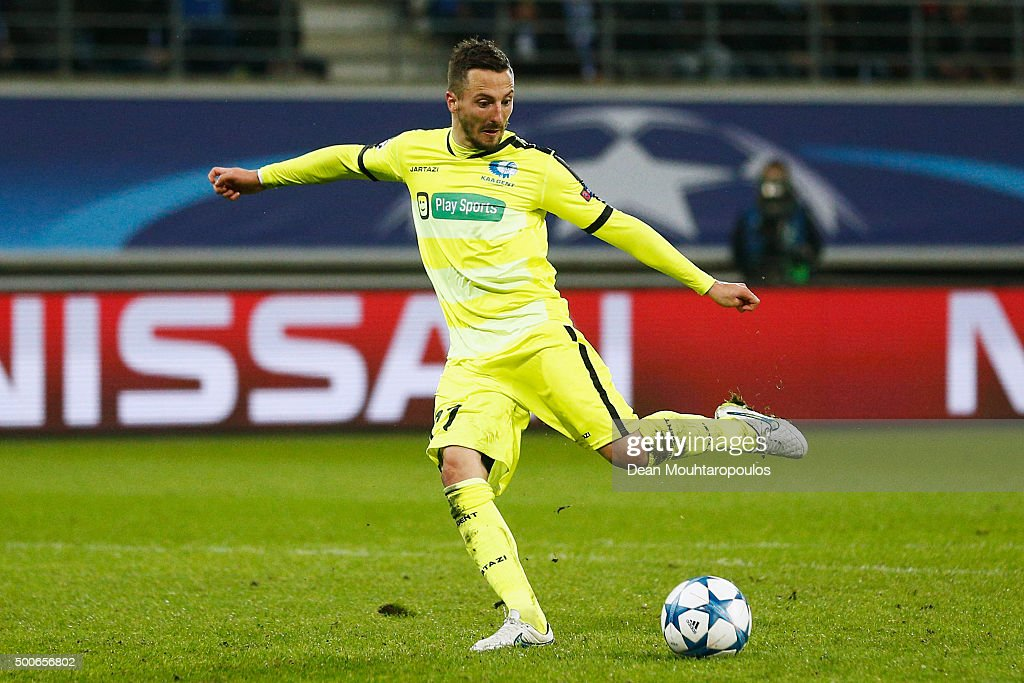 Danijel Milicevic of Gent shoots and scores his teams second goal of the game during the group H UEFA Champions League match between KAA Gent and Football Club Zenit Saint Petersburg held at Ghelamco Arena, on December 9, 2015 in Gent, Belgium.