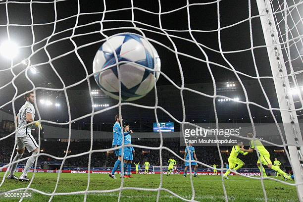 Danijel Milicevic of Gent shoots and scores his teams second goal of the game during the group H UEFA Champions League match between KAA Gent and...