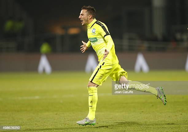 Danijel Milicevic of KAA Gent celebrates his goal during the UEFA Champions League match between Olympique Lyonnais and KAA Gent at Stade de Gerland...