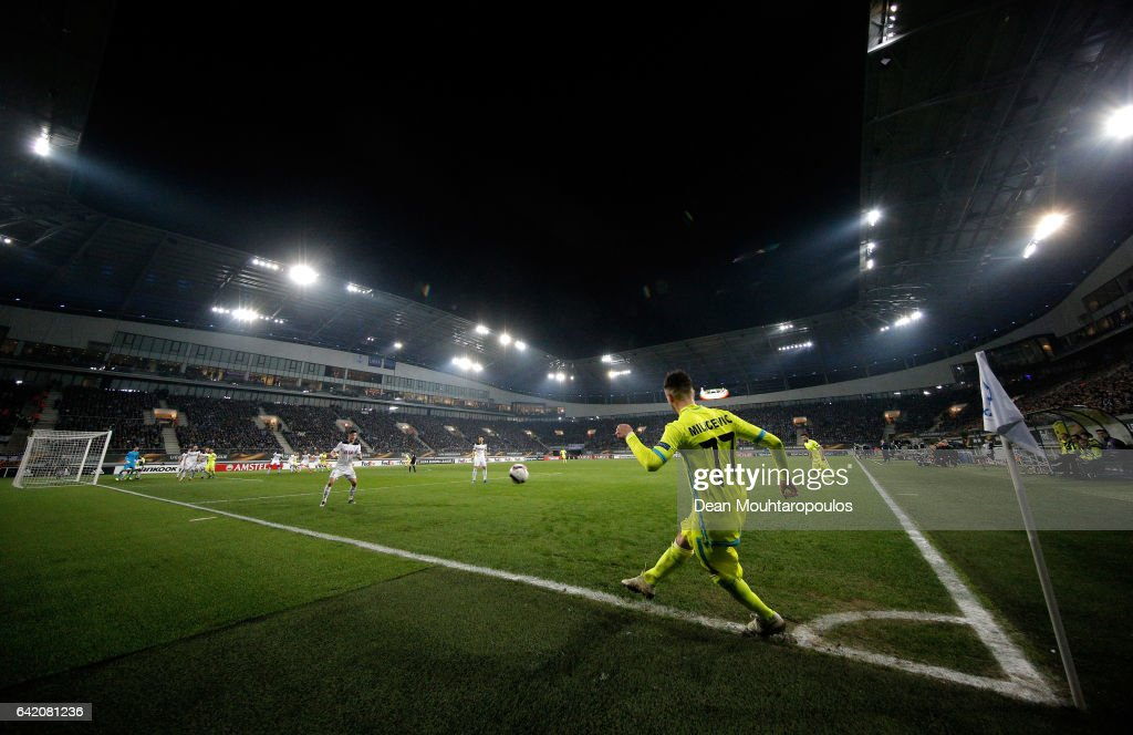 Danijel Milicevic of KAA Gent takes a corner during the UEFA Europa League Round of 32 first leg match between KAA Gent and Tottenham Hotspur at Ghelamco Arena on February 16, 2017 in Gent, Belgium.