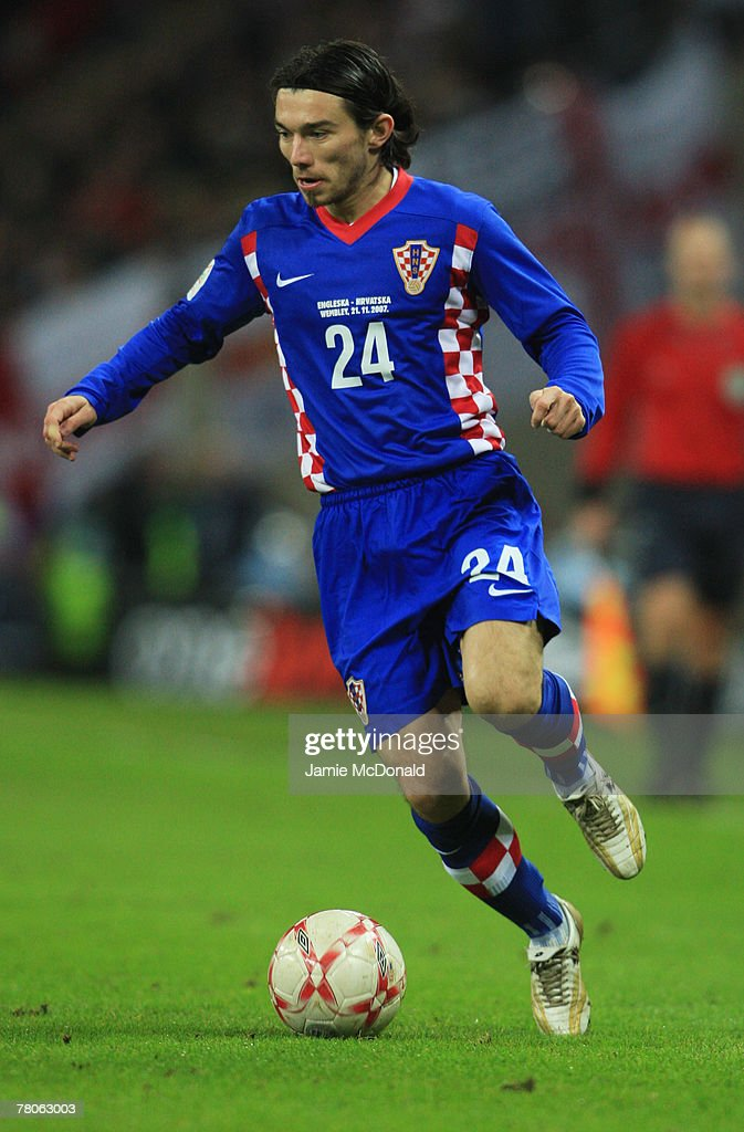 Danijel Pranjic of Croatia in action during the Euro 2008 Group E qualifying match between England and Croatia at Wembley Stadium on November 21, 2007 in London, England.