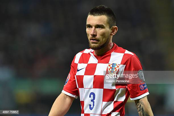 Danijel Pranjic of Croatia looks on during the EURO 2016 Group H Qualifier match between Italy and Croatia at Stadio Giuseppe Meazza on November 16...