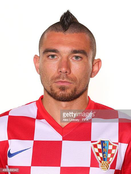 Danijel Pranjic of Croatia poses during the official FIFA World Cup 2014 portrait session on June 5 2014 in Salvador Brazil