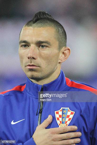Danijel Pranjic of Croatia stands for the national anthem prior the international friendly match between Switzerland and Croatia at the AFG Arena on...