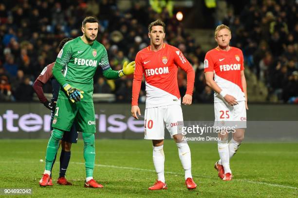 Danijel Subasic and Stevan Jovetic of Monaco during the Ligue 1 match between Montpellier and Monaco at Stade de la Mosson on January 13 2018 in...