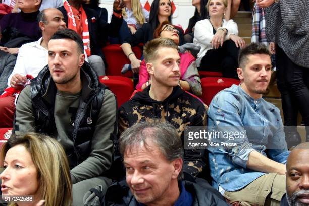 Danijel Subasic and Stevan Jovetic soccer players of Monaco during the Pro A match between Monaco and Gravelines Dunkerque on February 11 2018 in...