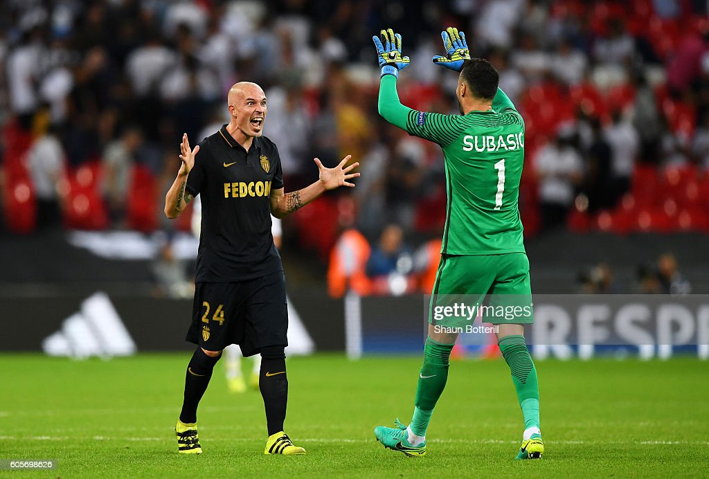Danijel Subasic of AS Monaco and Andrea Raggi of AS Monaco celebrate victory during the UEFA Champions League match between Tottenham Hotspur FC and AS Monaco FC at Wembley Stadium on September 14, 2016 in London, England.