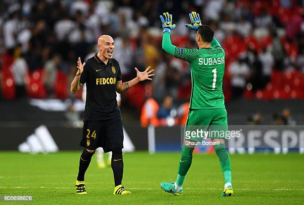 Danijel Subasic of AS Monaco and Andrea Raggi of AS Monaco celebrate victory during the UEFA Champions League match between Tottenham Hotspur FC and...