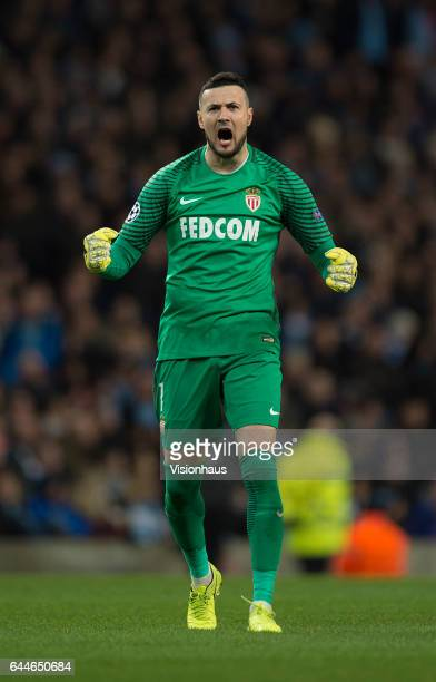 Danijel Subasic of AS Monaco celebrates a goal during the UEFA Champions League Round of 16 first leg match between Manchester City FC and AS Monaco...