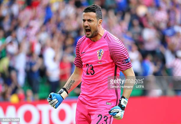 Danijel Subasic of Croatia celebrates after his team scored to make it 10 during the UEFA EURO 2016 Group D match between Czech Republic and Croatia...