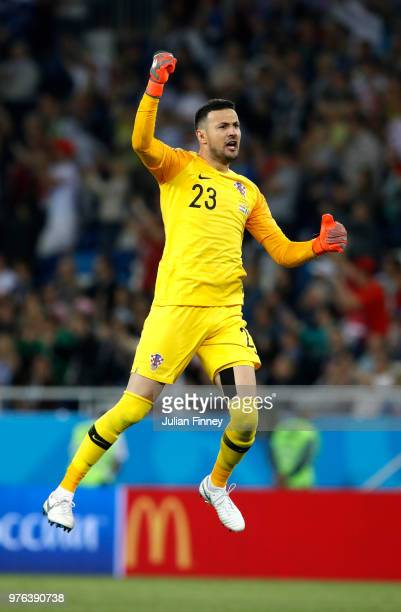 Danijel Subasic of Croatia celebrates after team mate Luka Modric scores his team's second goal during the 2018 FIFA World Cup Russia group D match...