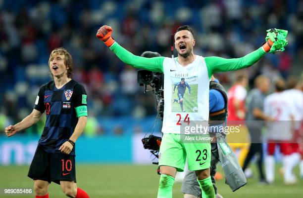 Danijel Subasic of Croatia celebrates following his sides victory in a penalty shoot out during the 2018 FIFA World Cup Russia Round of 16 match...