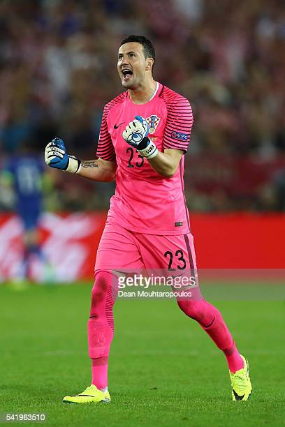 Danijel Subasic of Croatia celebrates his team's second goal during the UEFA EURO 2016 Group D match between Croatia and Spain at Stade Matmut...