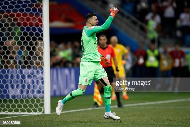 Danijel Subasic of Croatia celebrates saving the first penalty from Christian Eriksen of Denmark in the penalty shoot out during the 2018 FIFA World...