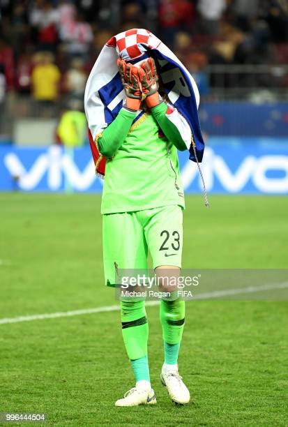 Danijel Subasic of Croatia celebrates victory following the 2018 FIFA World Cup Russia Semi Final match between England and Croatia at Luzhniki...