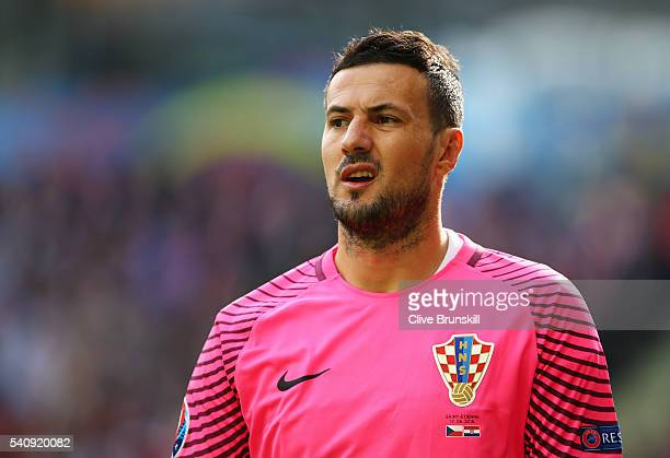 Danijel Subasic of Croatia looks on during the UEFA EURO 2016 Group D match between Czech Republic and Croatia at Stade GeoffroyGuichard on June 17...
