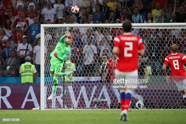 Danijel Subasic of Croatia makes a save during the 2018 FIFA World Cup Russia Quarter Final match between Russia and Croatia at Fisht Stadium on July...