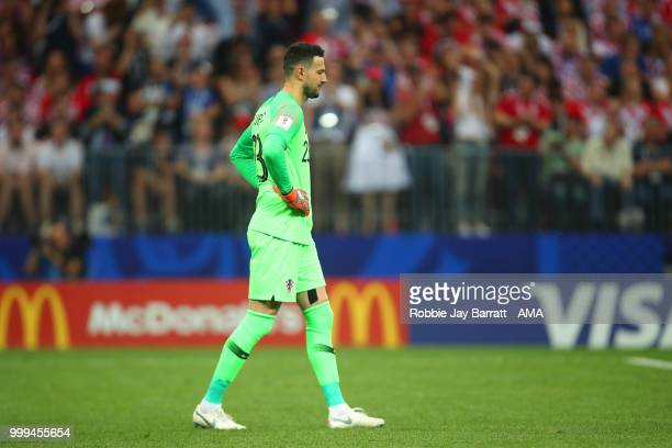 Danijel Subasic of Croatia reacts after Antoine Griezmann of France scored a penalty to make it 21 during the 2018 FIFA World Cup Russia Final...