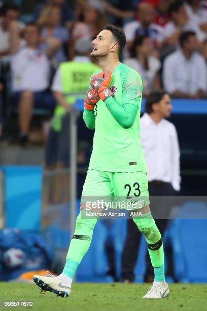 Danijel Subasic of Croatia reacts during the 2018 FIFA World Cup Russia Quarter Final match between Russia and Croatia at Fisht Stadium on July 7...