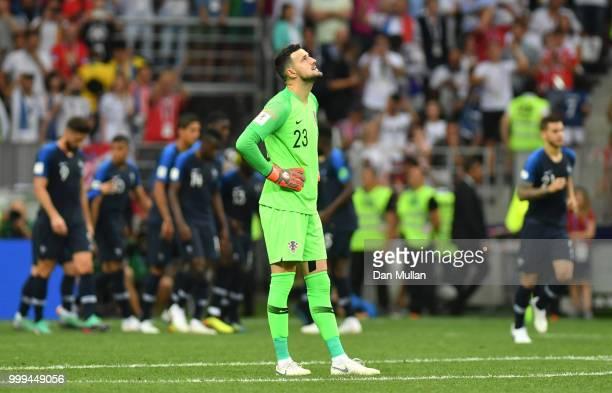 Danijel Subasic of Croatia reacts following France second goal during the 2018 FIFA World Cup Final between France and Croatia at Luzhniki Stadium on...