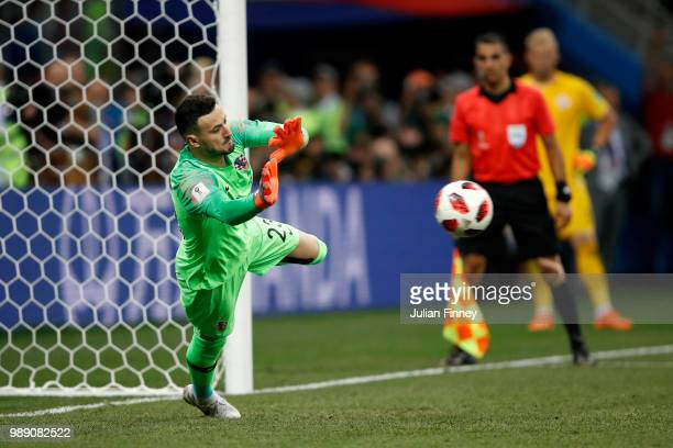 Danijel Subasic of Croatia saves the first penalty from Christian Eriksen of Denmark in the penalty shoot out during the 2018 FIFA World Cup Russia...