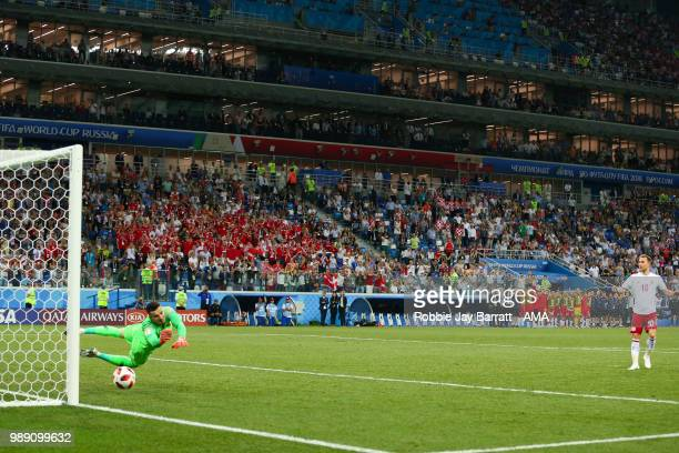 Danijel Subasic of Croatia saves the penalty of Christian Eriksen of Denmark during a penalty shootout during the 2018 FIFA World Cup Russia Round of...