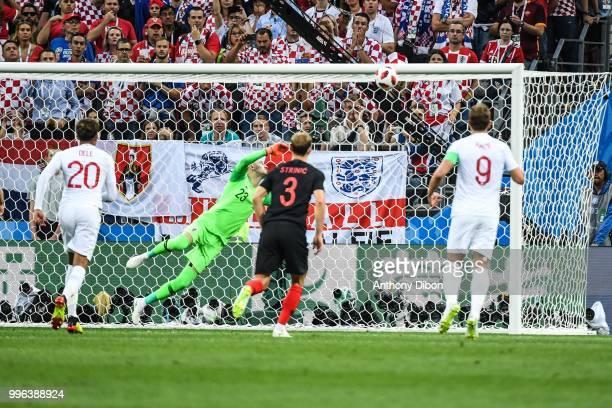 Danijel Subasic of Croatia see the freekick of Kieran Trippier of England crossing the line during the Semi Final FIFA World Cup match between...
