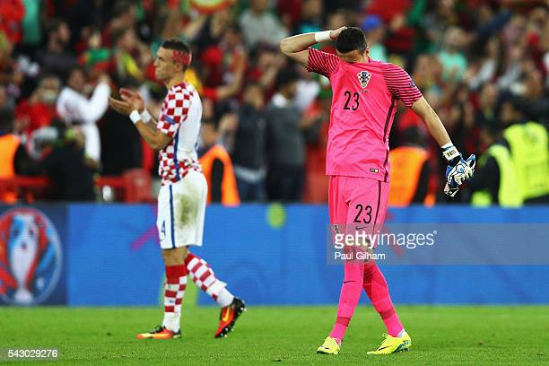 Danijel Subasic of Croatia shows his dejection after his team's 01 defeat in the UEFA EURO 2016 round of 16 match between Croatia and Portugal at...