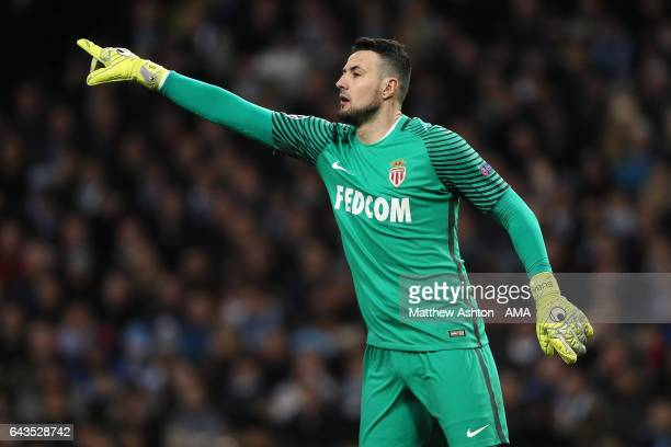 Danijel Subasic of Monaco gestures during the UEFA Champions League Round of 16 first leg match between Manchester City FC and AS Monaco at Etihad...