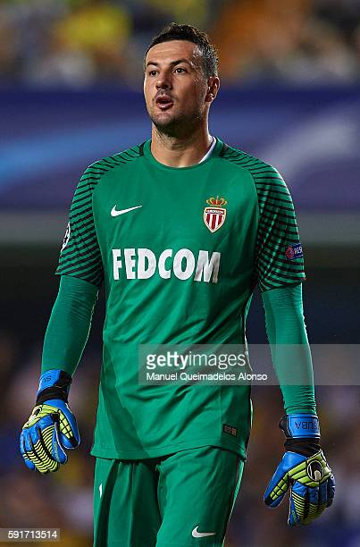 Danijel Subasic of Monaco looks on during the UEFA Champions League playoff first leg match between Villarreal CF and AS Monaco at El Madrigal on...