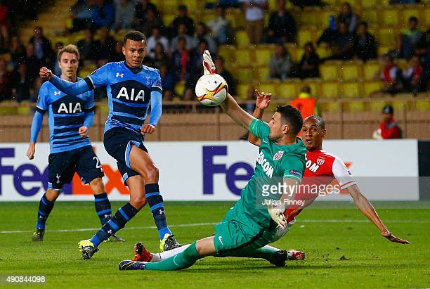Danijel Subasic of Monaco makes a save from Dele Alli of Tottenham Hotspur during the UEFA Europa League group J match between AS Monaco FC and...
