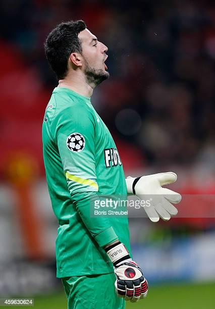 Danijel Subasic of Monaco reacts during the UEFA Champions League group C match between Bayer 04 Leverkusen and AS Monaco FC at BayArena on November...