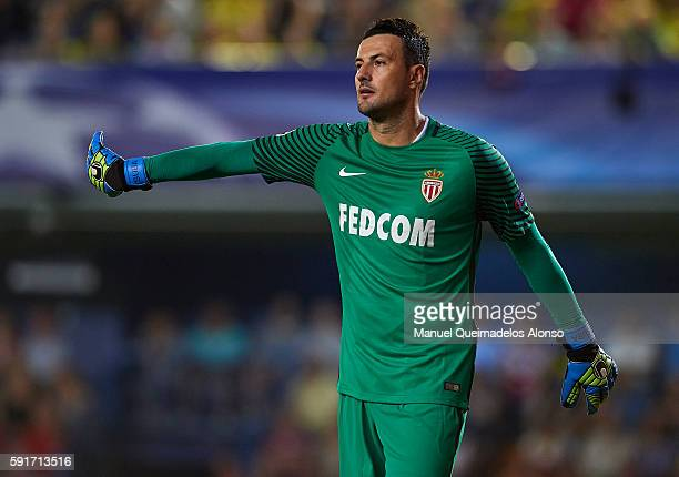 Danijel Subasic of Monaco reacts during the UEFA Champions League playoff first leg match between Villarreal CF and AS Monaco at El Madrigal on...