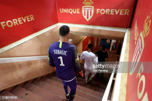 Danijel Subasic of Monaco walks down the tunnel after the match during the Ligue 1 match between AS Monaco and FC Nantes at Stade Louis II on...