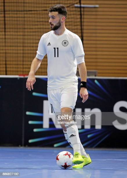 Danijel Suntic of Germany runs with the ball during the Futsal international friendly match between Germany and Czech Republic at Ballsport Arena on...