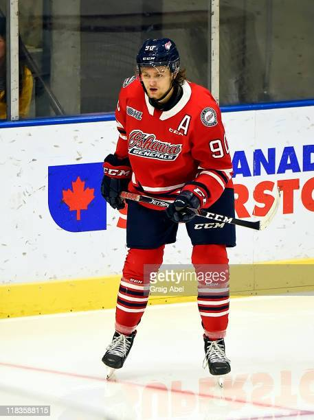 Danil Antropov of the Oshawa Generals skates against the Mississauga Steelheads during game action on October 25 2019 at Paramount Fine Foods Centre...