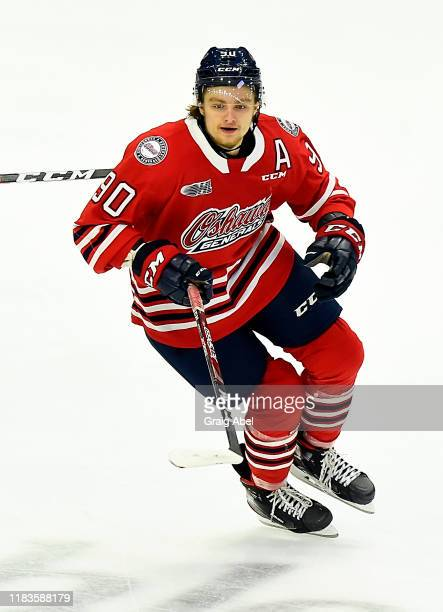Danil Antropov of the Oshawa Generals skates against the Mississauga Steelheads during game action on October 25, 2019 at Paramount Fine Foods Centre...