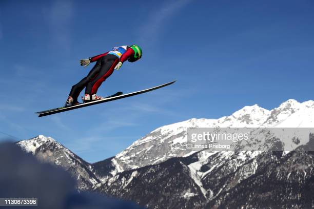 Danil Glukhov of Kazakhstan jumps during the ski jumping training for the Nordic Combined ahead of the FIS Nordic World Ski Championships on February...