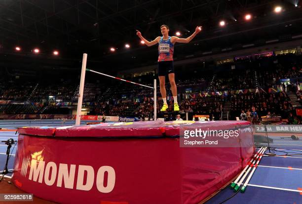 Danil Lysenko of Authorised Neutral Athlete celebrates after winning the Mens High Jump Final on Day One of the IAAF World Indoor Championships at...