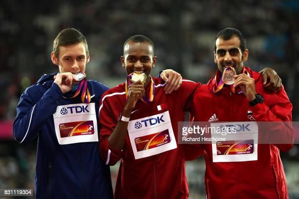 Danil Lysenko of the Authorized Neutral Athletes, silver, Mutaz Essa Barshim of Qatar, gold, and Majd Eddin Ghazal of Syrian Arab Republic pose with...