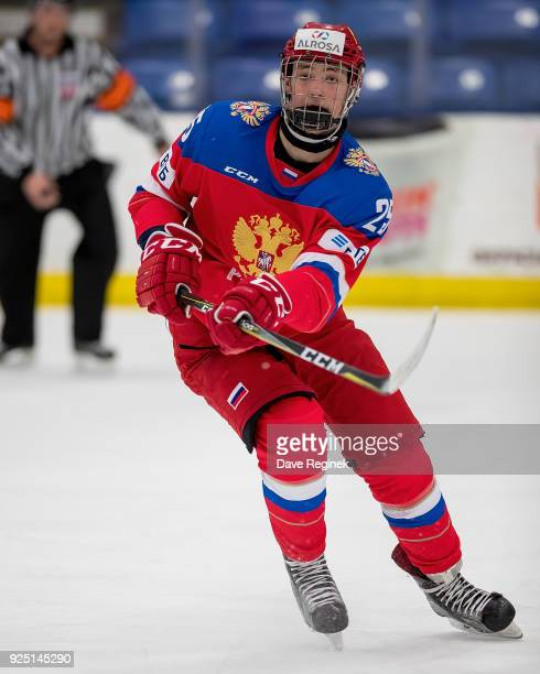 Danil Misyul of the Russian Nationals passes the puck against the Finland Nationals during the 2018 Under18 Five Nations Tournament game at USA...