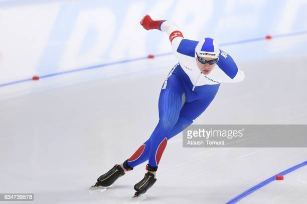 Danila Semerikov of Russia competes in the men 10000m during the ISU World Single Distances Speed Skating Championships Gangneung Test Event For...