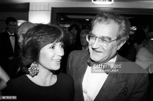 Danièle Evenou et Georges Fillioud lors de la réouverture de la brasserie du 'Boeuf sur le Toit' à Paris le 28 octobre 1985 France