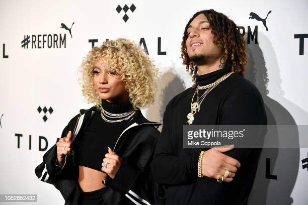 DaniLeigh and Brandon Bills attend the 4th Annual TIDAL X Brooklyn at Barclays Center of Brooklyn on October 23 2018 in New York City