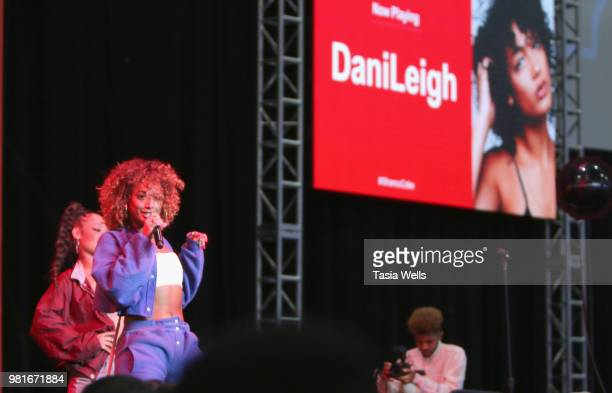 DaniLeigh performs at the CocaCola Music Studio at the 2018 BET Experience Fan Fest at Los Angeles Convention Center on June 22 2018 in Los Angeles...