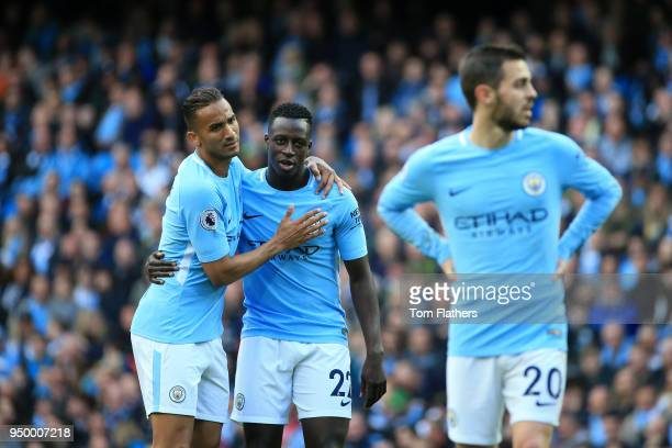 Danilo and Benjamin Mendy of Manchester City react during the Premier League match between Manchester City and Swansea City at Etihad Stadium on...