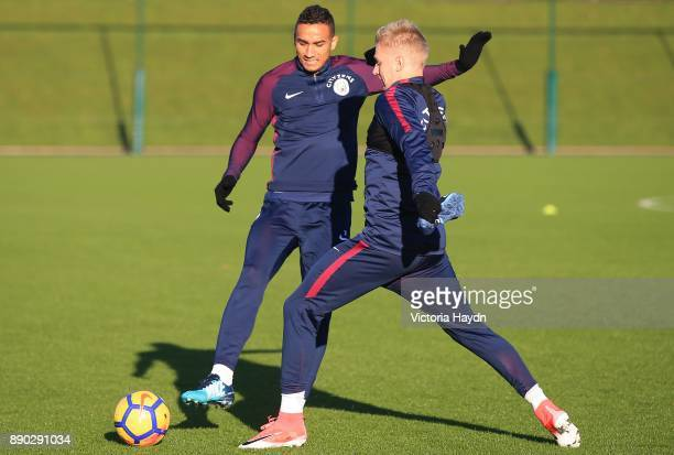 Danilo and Oleksandar Zinchenko in action during training at Manchester City Football Academy on December 11 2017 in Manchester England
