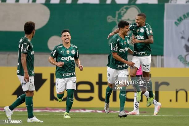 Danilo Barbosa da Silva of Palmeiras celebrates with teammates after scoring the fifth goal of his team during a match between Palmeiras and...
